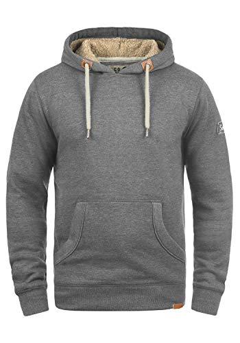 !Solid TripHood Pile Herren Kapuzenpullover Hoodie Sweatshirt mit Teddyfutter aus Hochwertiger Baumwollmischung Meliert, Größe:L, Farbe:Gre M P (P8236)