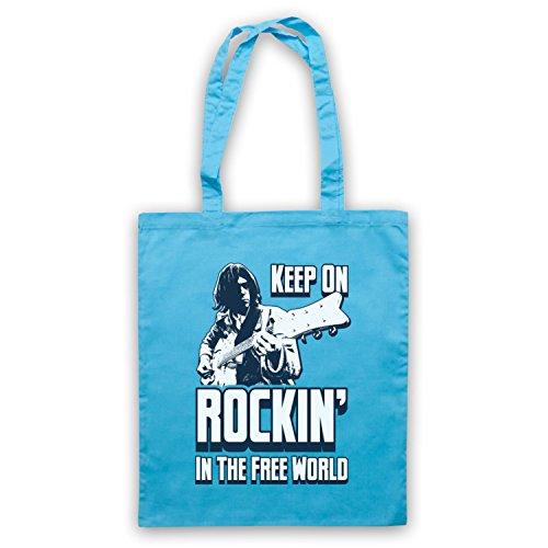 Inspiriert durch Neil Young Rockin In The Free World Inoffiziell Umhangetaschen Hellblau