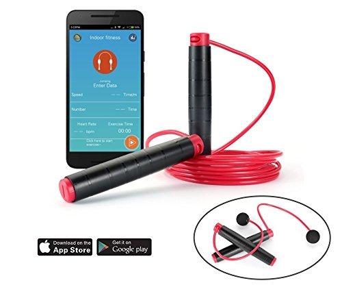 BerryKing JumpRope Bluetooth 4.0 Springseil 3 Meter \'ohne Seil\'-Funktion Antirutschgriffe Überwachung per App Smartphone iOS & Android Training Fitness inkl. Reisebeutel