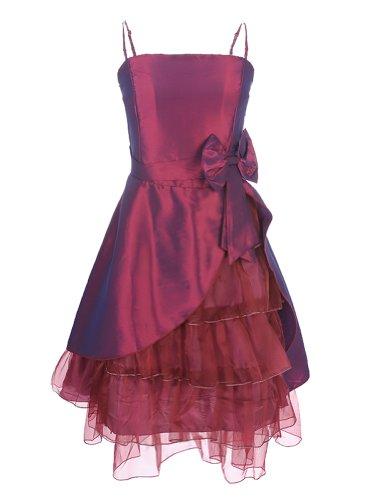 JK2 - Robe de cocktail Noeuds et Volants Rouge