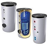 300 Liter emaillierter Solarspeicher/Warmwasserspeicher/Trinkwasserspeicher, Energieeffiziensklasse B, mit 1 Wärmetauscher, inkl. Isolierung, Magnesiumanoden und Thermometer