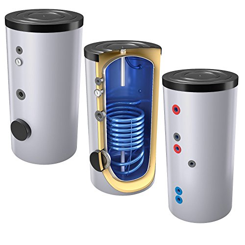 400 Liter emaillierter Solarspeicher / Warmwasserspeicher / Trinkwasserspeicher, mit 1 Wärmetauscher, inkl. Isolierung, Magnesiumanoden und Thermometer