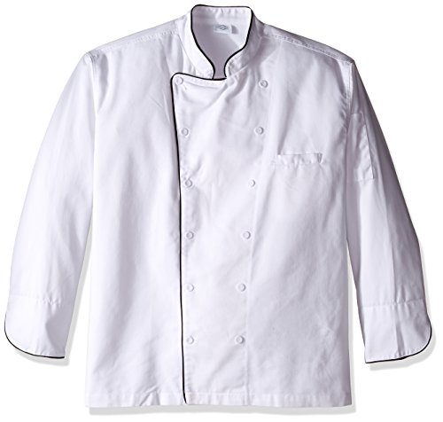 Double Breasted Drop (Dickies Chef Men's Unisex Executive Coat with Fluid Barrier with Piping, White/Black, XXX-Large)