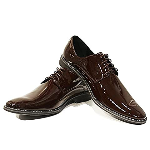Modello Guglielmo - UK 7 - Handmade Italian Brown Dress Shoes - Calfskin Patent Leather - Lace-Up