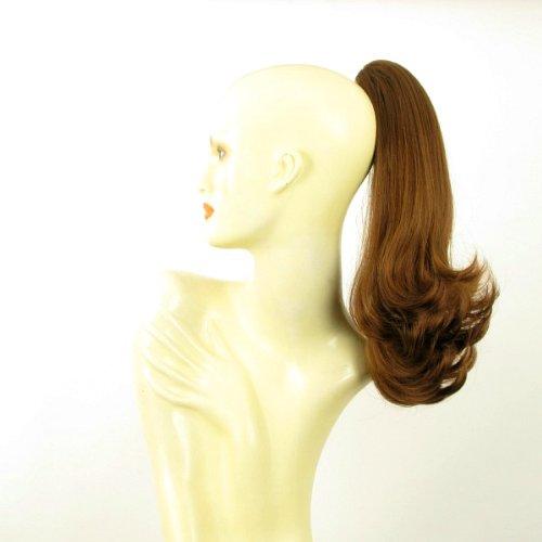 Postiche queue de cheval extension femme mi-longue 40 cm châtain doré cuivré ref 8 en 30