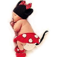 Punto de ganchillo para bebé fotos traje 4 tlg. Mickey Mouse Minnie Mouse rojo