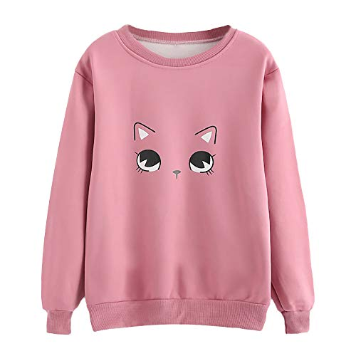 Femme Sweatshirt ImpriméEs Chat Sweat-Shirt Pull T-Shirts à Manches Longues Tops Col Round Vintage Blouse Shirt (S(EU34), Rose)