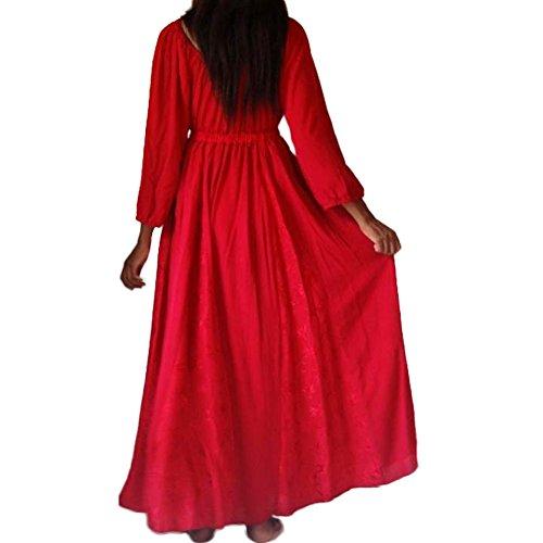 EMPIRE DRESS MAXI JACQUARD IN 2 , COLORE: ROSSO, NERO, BIANCO (B346] Red