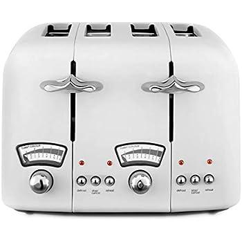 DELONGHI CTO4W Argento Vintage Four-Slice Toaster Stainless Steel 1600 W White