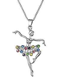 Collar de playa de ley con colgante con diseño de bailarina de ballet con  cristal transparente dd70f7a37055