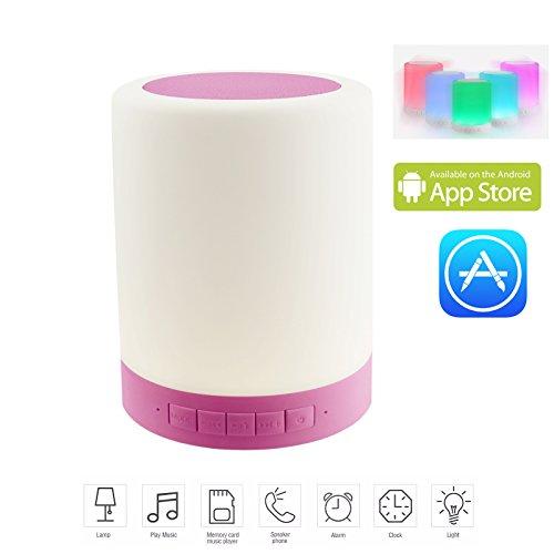 HFTEK® FY689 Dimmbar Bluetooth Lautsprecher RGB LED Nachtlicht Lampe Tragbares Licht Farbwechsel Multi Funktion Musik Sound Box Touch Control und smartphone App TF Karte Freisprecheinrichtung (Pink) (Multi-funktion-laptop-tisch)