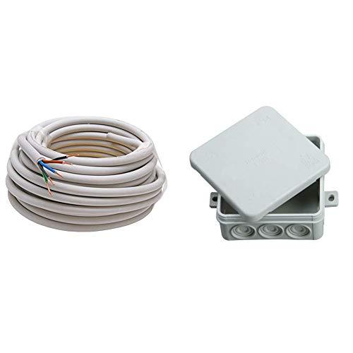 Kopp Mantel-Leitung 5 adrig, NYM-J 5x1.5 mm² (10m) Strom-Kabel für feste Verlegung, 300V/500V, elektrische Leitung , grau & 347114008 Abzweigdose Aufputz-Feuchtraum, mit 5-poliger Klemmleiste