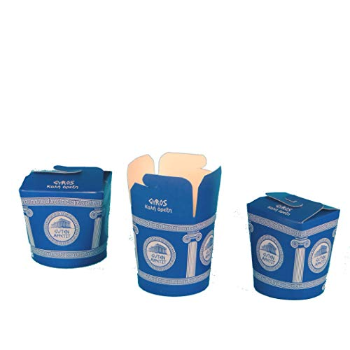 Ml-box (Pack4Food 500 Gyrosboxen Gyrps Snackbox Gyros to go Box Gyrosbox Hartpapier 26oz ca.700ml Neutraldruck Gyrosbox Blau weiß)