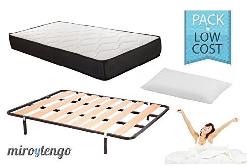 Pack Low Cost Descanso completo 135X190 (colchon + somier + patas+ almohada)