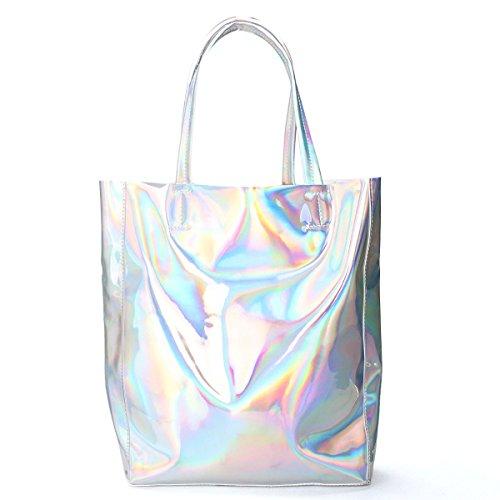 OURBAG Damen Holographisch Laser Frauen Tasche Silber Handtasche Schultertasche Umhängetasche Silber (Tasche Laser)