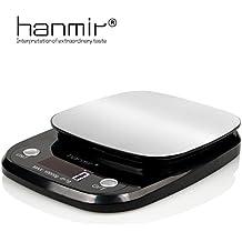 Báscula Digital de Cocina hanmir Peso de Cocina 10 Kg/ 1 g, Acero Inoxidable, pantalla LCD, balanza de cocina, Negro(Baterías Incluidas)