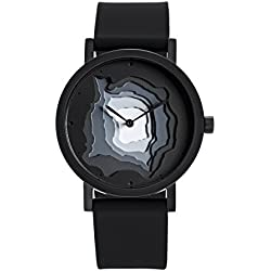 "Projects Watches ""Terra-Time Black"" Quartz Inox IP Steel Silicon Men's Watch"