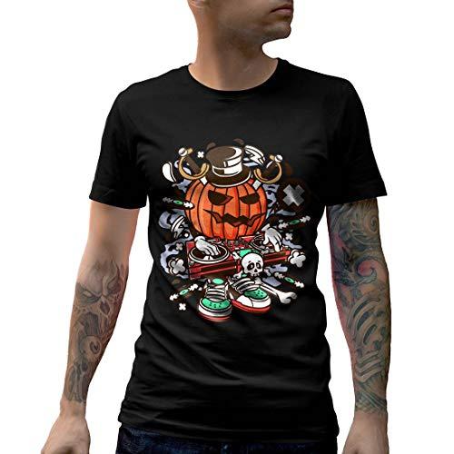 C089MCNTB Herren T-Shirt DJ Halloween Music Disco Club Food Retro Party Funny Stereo Disc Jokey Mono Jack Classic(Small,Black)