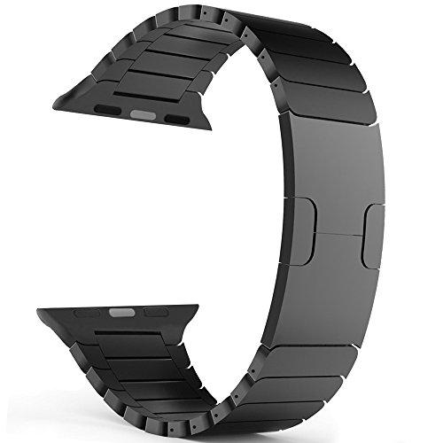Preisvergleich Produktbild Woodln für Apple iWatch Series 1 Series 2 Edelstahl Uhrenarmband Strap Replacement Wrist Band Armband für Apple Watch 42 mm/38 mm (38MM, Black1)