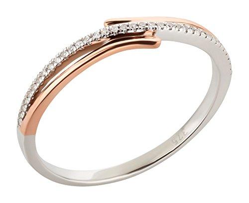Damenring 375 Gold mit 0,05 ct. Diamanten bicolor Roségold Weißgold Ring + Brillanten Verlobungsring Damenring