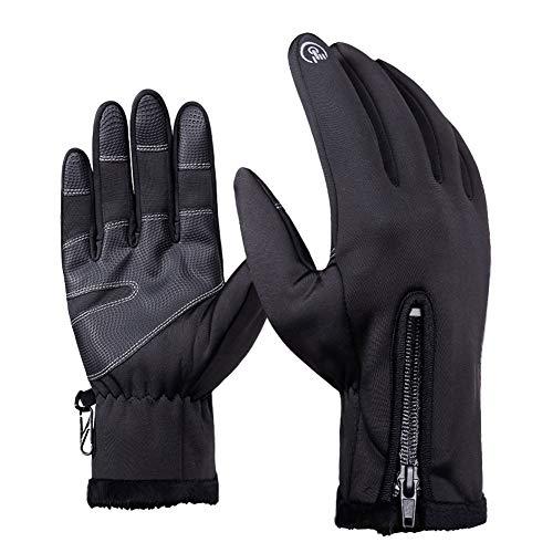 CAheadY Outdoor Radfahren Skifahren Vollfinger Reißverschluss Winter Warm Unisex Touchscreen Handschuhe Black XXL