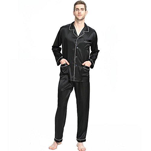 Herren Seide Schlafanzug Pyjama Schwarz Large (Schlafanzug Seide)