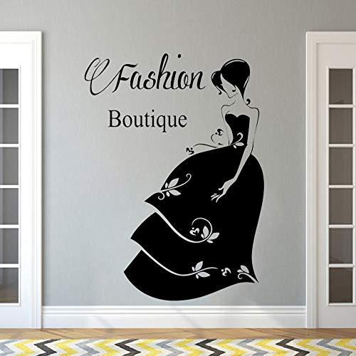 wukongsun Salon Dekoration Gesicht der Frau Mode-Stil Kleidung Kostüm Boutique Hut Modell Fenster Vinyl Applique Wandaufkleber Poster Schwarz (Horror Brautpaar Kostüm)