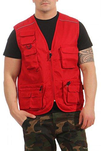 Mivaro Herren Safari-Weste mit vielen praktischen Taschen, funktionale Arbeitsweste, Outdoor-Weste, Farbe:Rot, Größe:XXL -