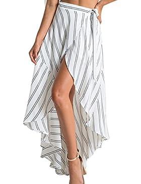Las Mujeres Elegantes Rayas Maxi Falda Asimétrica Cintura Alta Alta Baja