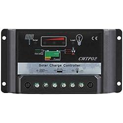 Mengonee El panel solar 30A 12V / 24V PWM de la batería del regulador del regulador de carga de la pantalla LED
