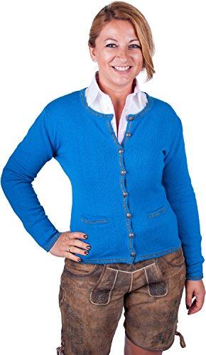 Almwerk Damen Trachten Strick Jacke Diana in grün, blau, grau schwarz und fuchsia, Größe Damen:M - Größe 38;Farbe:Blau/Stein