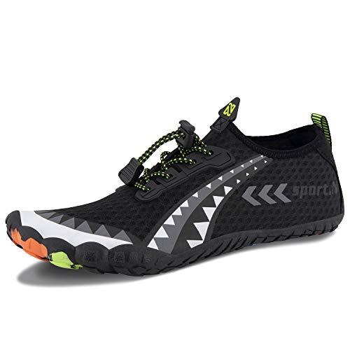 Herren Damen Outdoor Fitnessschuhe Barfußschuhe Trekking Schuhe Badeschuhe Schnell Trocknend rutschfest(Schwarzgrau,42 EU) (Trekking-schuhe)