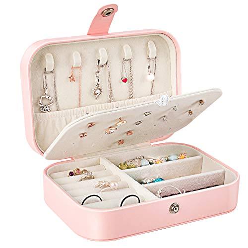 Gifort Caja Joyero Pequeña, Joyero Viaje Cajas para Joyas Jewelry Organizer para Mujer, para Anillos, Aretes, Pendientes, Pulseras y Collares