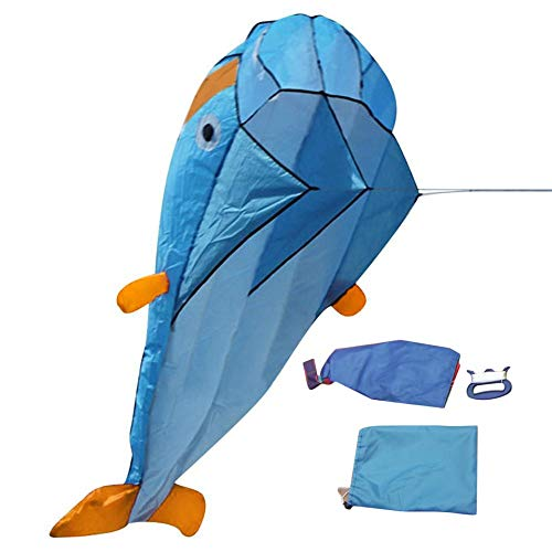 3D Dolphin Kite with Handle Line Stunt Parachute Soft Parafoil Surfing Kite -