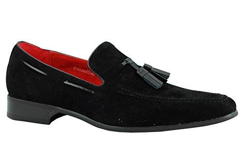 Herren SMART Wildleder Leder Quaste Ferse Slipper Slip On Sommer Mod fahren Schuhe Schwarz