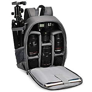 Kamerarucksack,CADeN Wasserdicht Camera Backpack Kameratasche Fotorucksack für Sony Canon Nikon und 1 DSLR/SLR 5 Objektiv Stativ Zubehör (Grau)