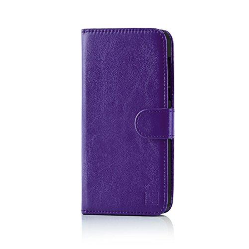 32nd PU Leder Mappen Hülle Flip Case Cover für HTC U Play, Ledertasche hüllen mit Magnetverschluss und Kartensteckplatz - Violett