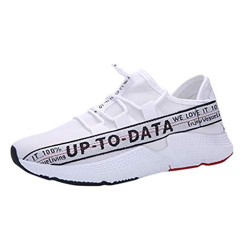 Herren Sportschuhe/Dorical Laufschuhe Turnschuhe Bequem Mesh Ultra-Leicht Atmungsaktiv Gym Fitness Sneaker Schnürer Straßenlaufschuhe Trainers Running Atmungsaktiv Sneakers(Weiß,43 EU)