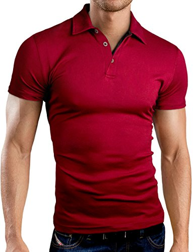 Grin&Bear Slim Fit Polohemd Poloshirt Polo T-Shirt, GB175 kurzarm/burgund