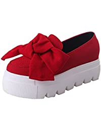 Kingko 38 EU, Red Women Girls Platform Nude Shoes Bow-Knot Fashion Lady Flats Loafers Ladies Slip On Casual Shoe