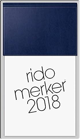 rido/idé 703500338 Tischkalender Merker, 1 Seite = 1 Tag, 108 x 201 mm, Miradur-Einband dunkelblau, Kalendarium 2018
