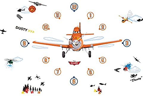 Disney Planes Tell the Time with Me Wall Clock Wall Sticker, Blue