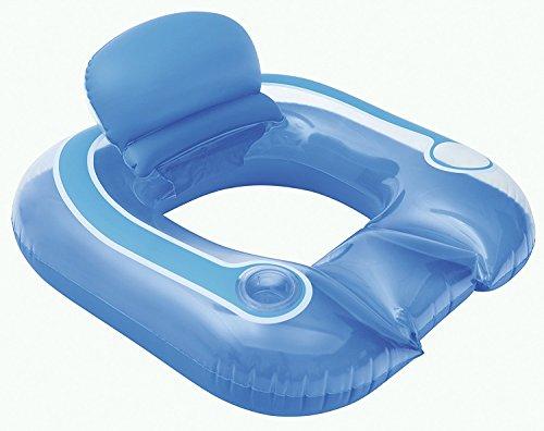 Bestway aufblasbarer Schwimmsitz mit Getränkehalter Pool Badeinsel Luftmatratze Wasserliege in Blau Meer Planschbecken (Die Hälfte Sitzkissen)