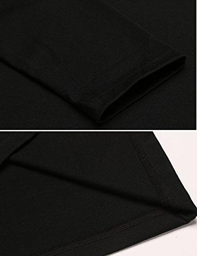 Coofandy Herren Langarmshirts/hemd mit V-Ausschnitt einfarbig slim fit stretch 2 in 1 Black