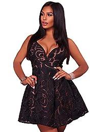53082facff95 SAMGU Abito da Donna Sexy in Pizzo Nero con Illusione in Pizzo Abito da  Donna Sexy