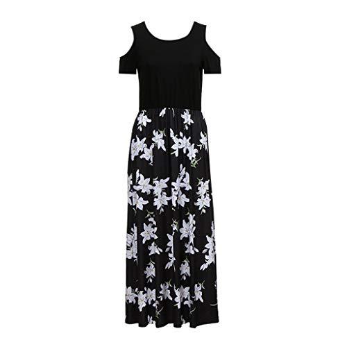 Zegeey Damen Kleid Sommer Kurzarm Schulterfrei Einfarbig Blumenkleid Maxi Kleid A-Linie Kleider Vintage Elegant LäSsige Kleidung Rundhals Basic Casual Strandkleider (A-Schwarz,XL (Great Für Gatsby-kleidung Damen)