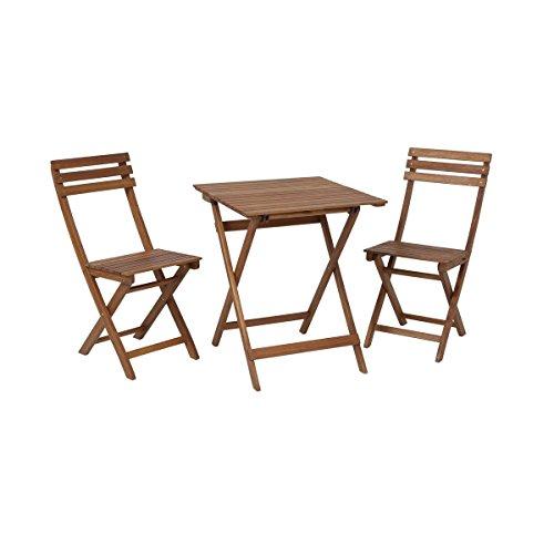 greemotion Balkonset Borkum - Balkonmöbel-Set aus Holz klappbar - Bistro-Set 3-teilig -...