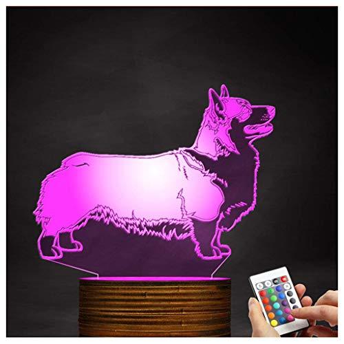 (Chengyd Welsh Corgi Dog Night Light 3D LED-Lampe für optische Täuschung, USB-angetriebene Fernbedienung ändert die Farbe des Lichts, Schlafzimmerdekoration Beleuchtung Kinder)