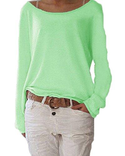 Damen Pulli Langarm T-Shirt Rundhals Ausschnitt Lose Bluse Hemd Pullover Oversize Sweatshirt Oberteil Tops Grün XL