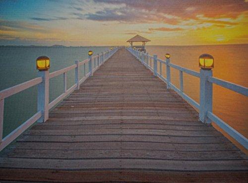 LED Bild Leuchtbild Seebrücke Holzsteg Wandbild Strand Weg Meer (Bild Weg)